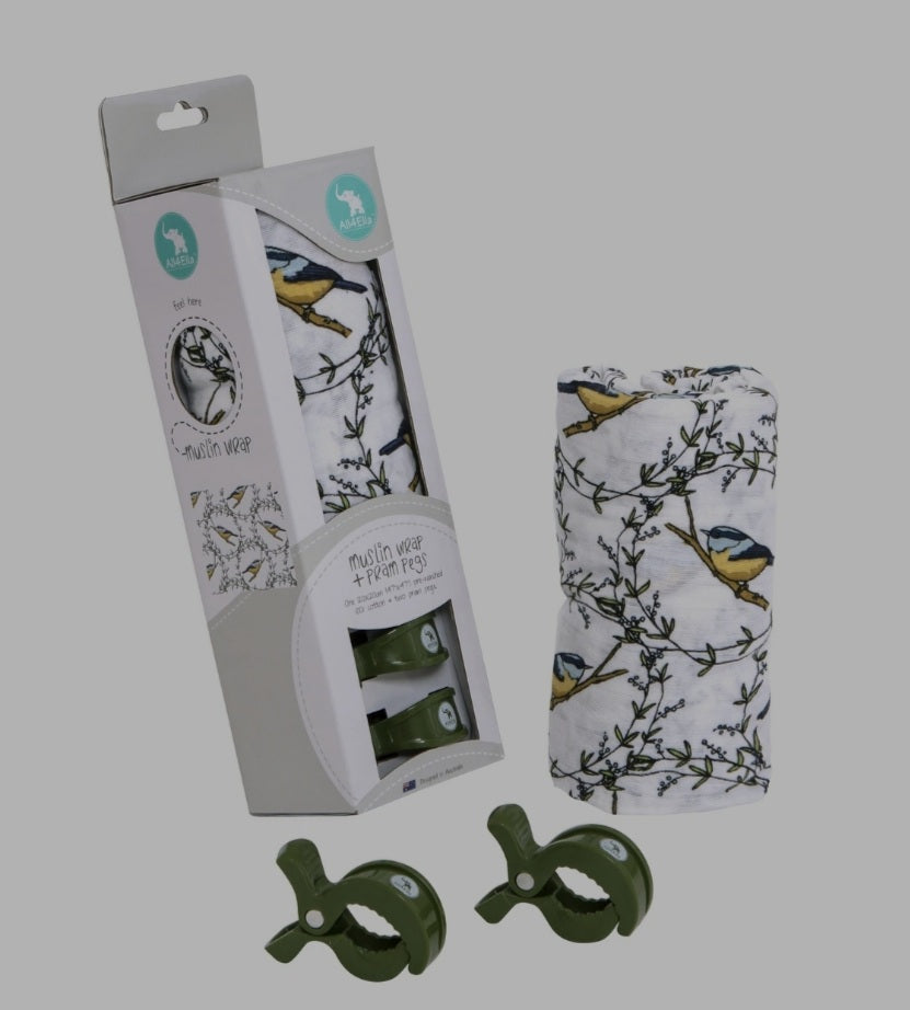 All4Ella - Muslin & 2 Pram Peg Box Set - Bird
