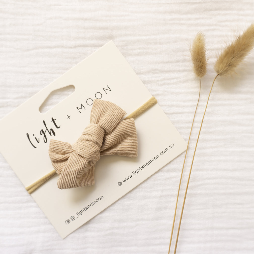 Light + Moon Luxe Corduroy Bow Headband - Beige
