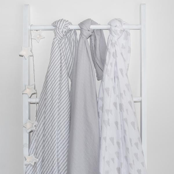 Living Textiles - 3 Pack Swaddle Wraps (2 colours)