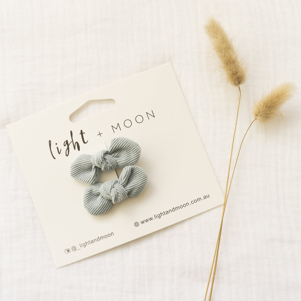 Light + Moon Corduroy Bow Clips - Dusty Blue