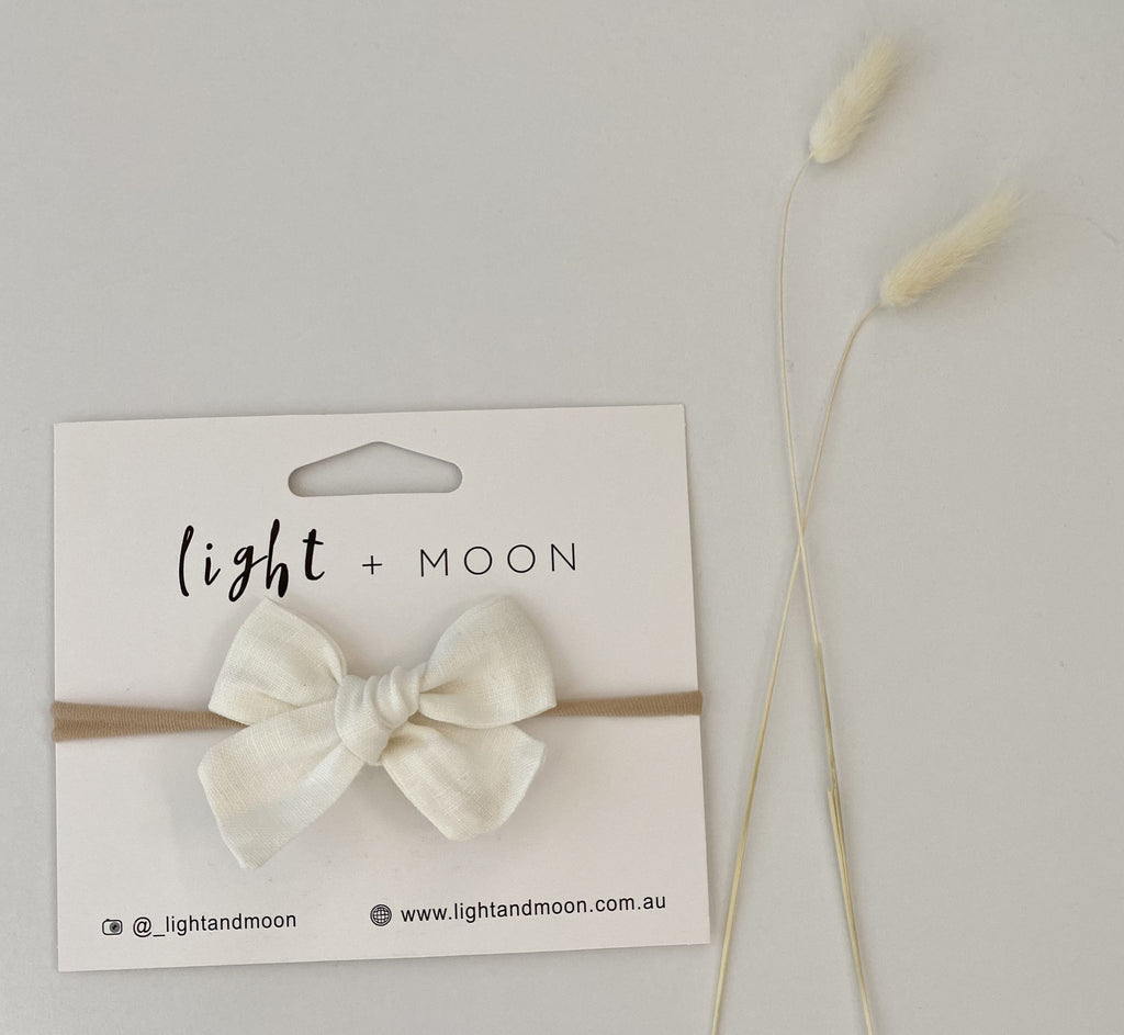 Light + Moon - White Linen Bow Headband