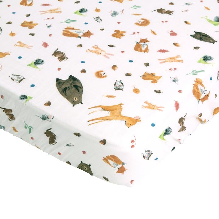 All4Ella Bamboo Cotton Cot Sheet - Forest