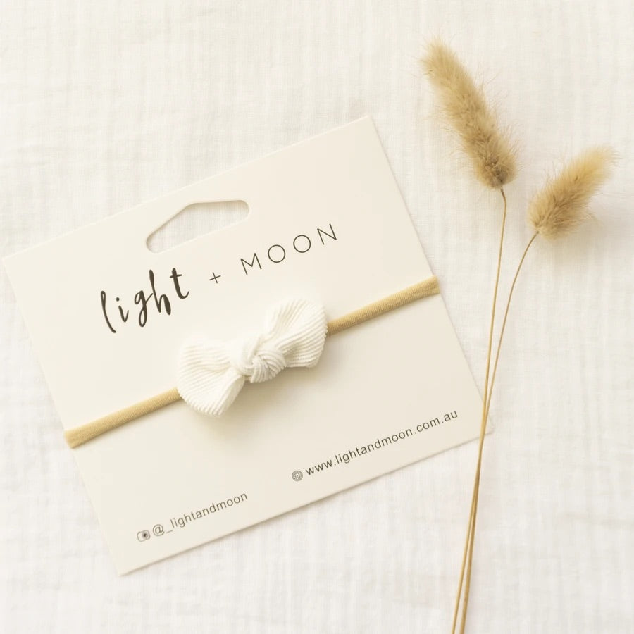 Light + Moon Mini Corduroy Bow Headband - White