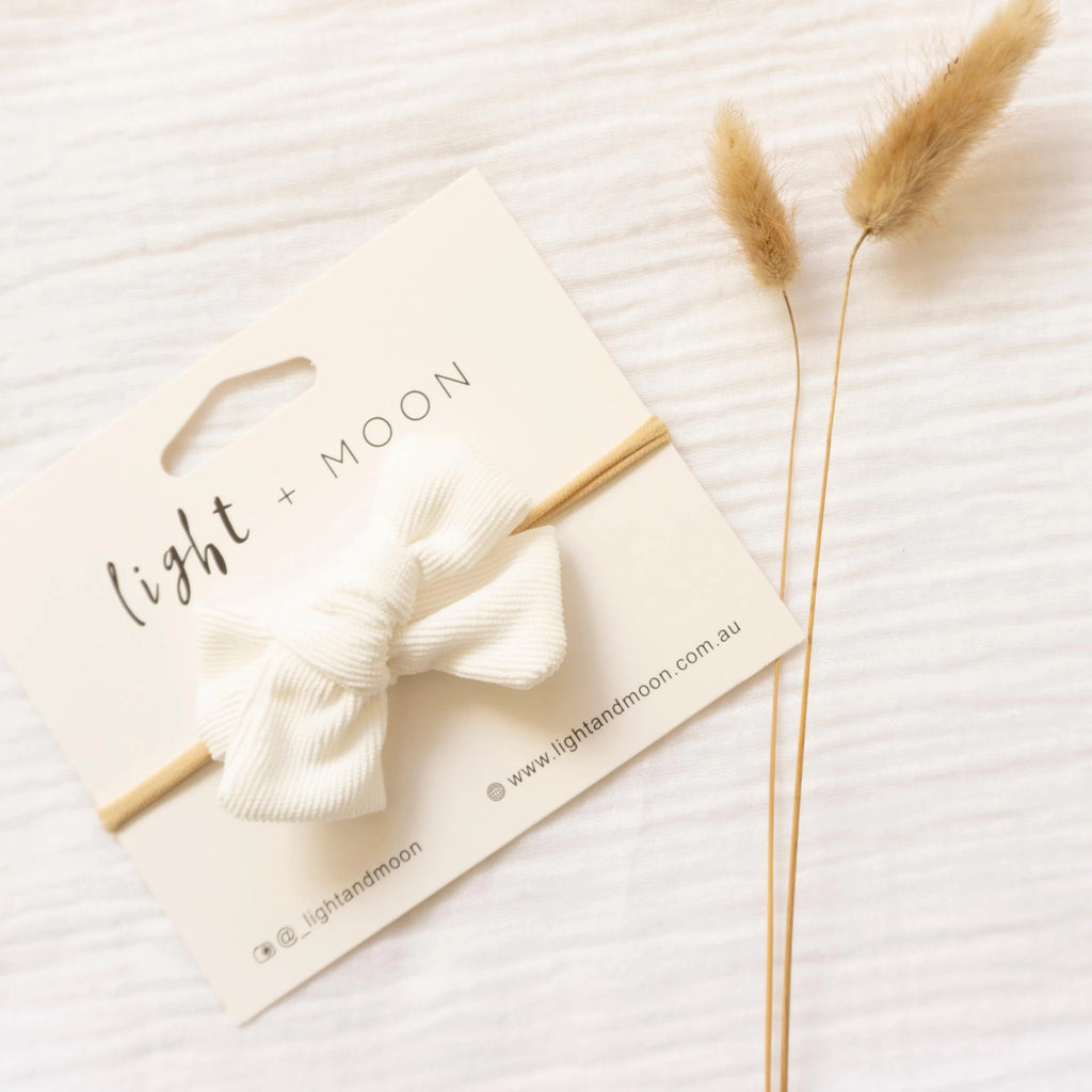 Light + Moon Luxe Corduroy Bow Headband - White