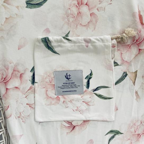 Anchor & Arrow Fitted Cot Sheet - Pretty Peony