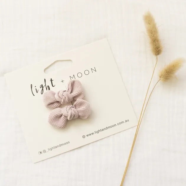 Light + Moon Mini Corduroy Bow Clips - Lilac
