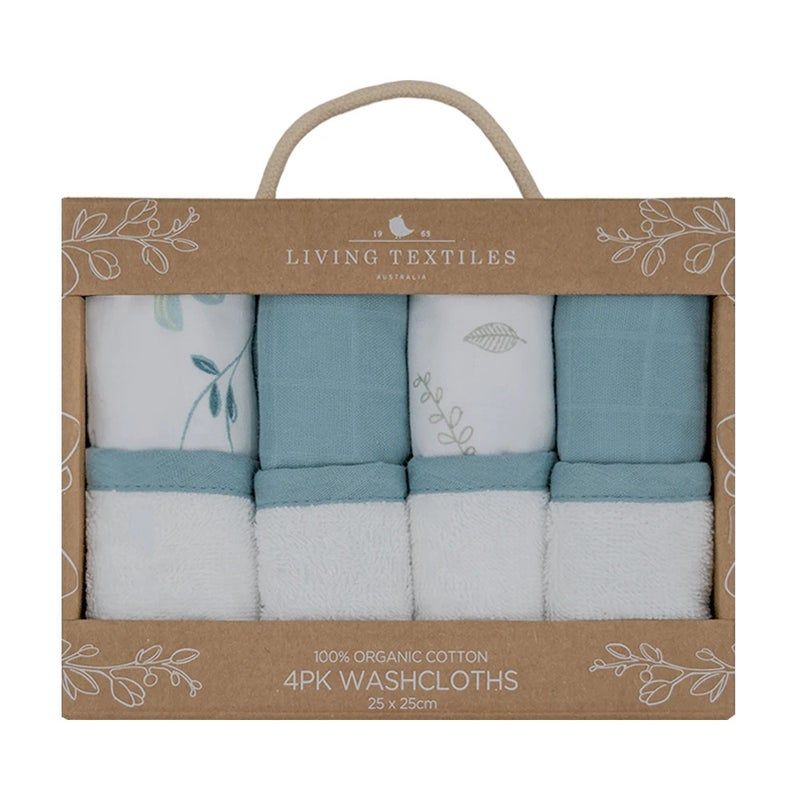 ORGANIC MUSLIN 4-PACK WASH CLOTHS - BANANA LEAF/TEAL