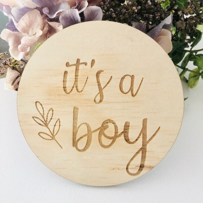 It's A Boy Birth Announcement Disc - Botanical