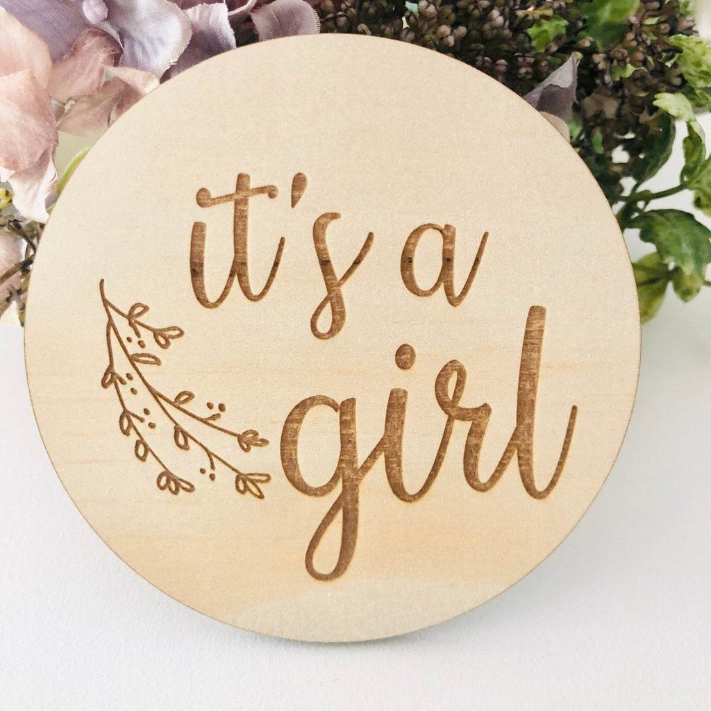 It's A Girl Birth Announcement Disc - Botanical