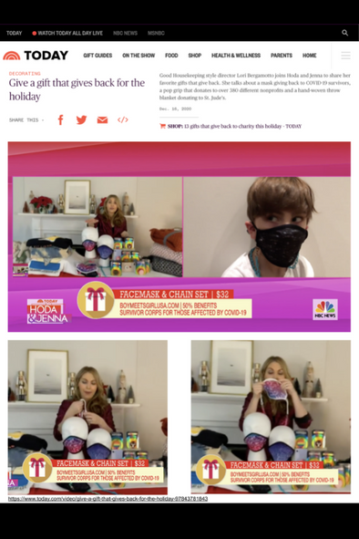 "Designer's Note: BOY MEETS GIRL® x PRETTY CONNECTED in Support of Survivor Corps on the Today Show with Hoda & Jenna ""Gifts that Give Back"""