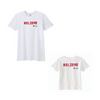 BOY MEETS GIRL® x Cre8ive Crayonz White BELIEVE Adults & Kids Unisex T-Shirt