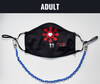 "BOY MEETS GIRL® x Pretty Connected Mask Chain Set: Adult Survivor Corps ""Dylan"" Drinking Mask with Royal Blue Chain"