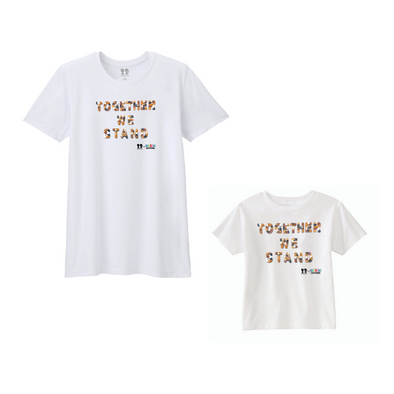BOY MEETS GIRL® x Cre8ive Crayonz White TOGETHER WE STAND Multicultural Font Adults & Kids Unisex T-Shirt