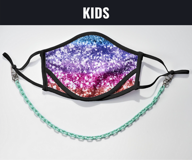 "BOY MEETS GIRL® x Pretty Connected Mask Chain Set: Kids Multi-Color ""Dylan"" Drinking Sparkle Mask with Mint Chain"