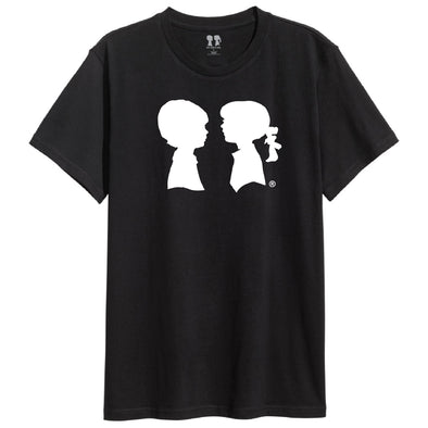 BOY MEETS GIRL® Black Unisex White Logo Pride Tee
