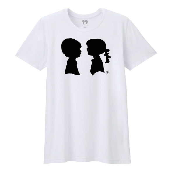 BOY MEETS GIRL® White Unisex Tee with Black Alice Logo