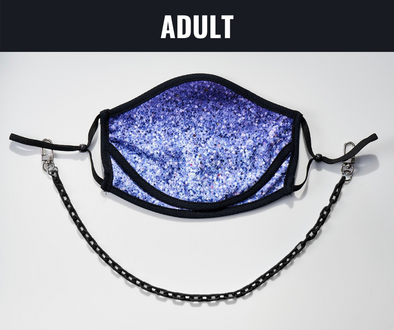 "BOY MEETS GIRL® x Pretty Connected Mask Chain Set: Adult Purple ""Dylan"" Drinking Sparkle Mask with Black Chain"