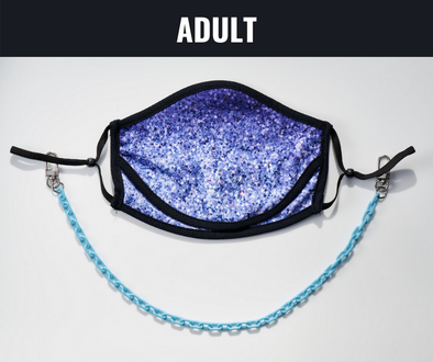 "BOY MEETS GIRL® x Pretty Connected Mask Chain Set: Adult Purple ""Dylan"" Drinking Sparkle Mask with Light Blue Chain"