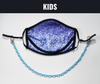 "BOY MEETS GIRL® x Pretty Connected Mask Chain Set: Kids Purple ""Dylan"" Drinking Sparkle Mask with Light Blue Chain"