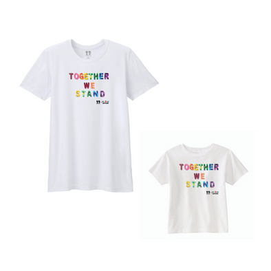 BOY MEETS GIRL® x Cre8ive Crayonz White TOGETHER WE STAND Rainbow Font Adults & Kids Unisex T-Shirt