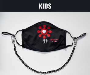 "BOY MEETS GIRL® x Pretty Connected Mask Chain Set: Kids Survivor Corps ""Dylan"" Drinking Mask with Black Chain"