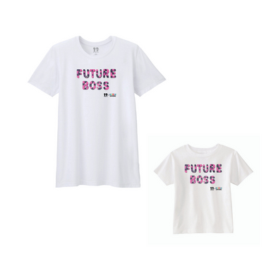 BOY MEETS GIRL® x Cre8ive Crayonz White FUTURE BOSS Pink & Purple Font Adults & Kids Unisex T-Shirt