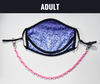 "BOY MEETS GIRL® x Pretty Connected Mask Chain Set: Adult Purple ""Dylan"" Drinking Sparkle Mask with Hot Pink Chain"