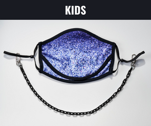 "BOY MEETS GIRL® x Pretty Connected Mask Chain Set: Kids Purple ""Dylan"" Drinking Sparkle Mask with Black Chain"