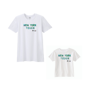 BOY MEETS GIRL® x Cre8ive Crayonz White NEW YORK TOUGH Blue, Green, & Grey Camo Font Adults & Kids Unisex T-Shirt