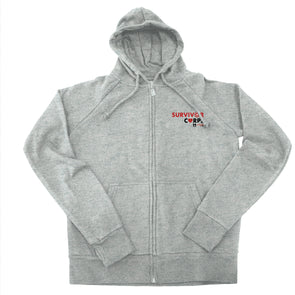 BOY MEETS GIRL® x SURVIVOR CORPS Heather Grey Zip Hoodie