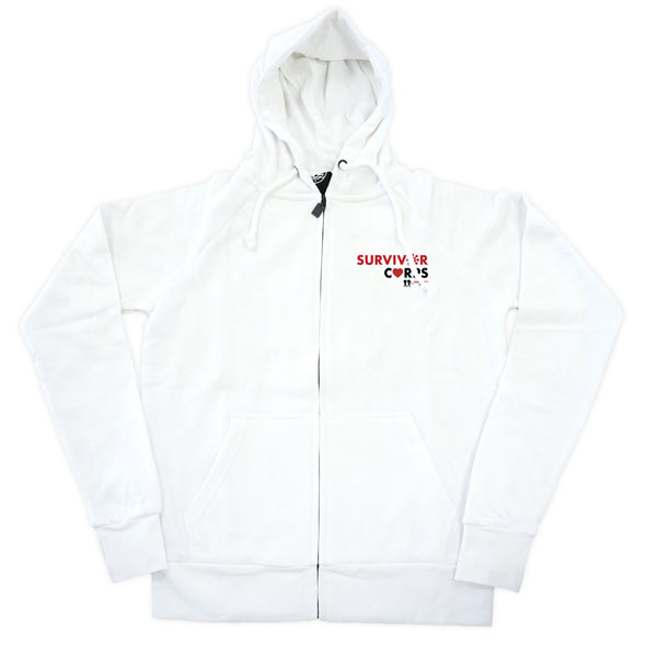 BOY MEETS GIRL® x SURVIVOR CORPS White Zip Hoodie