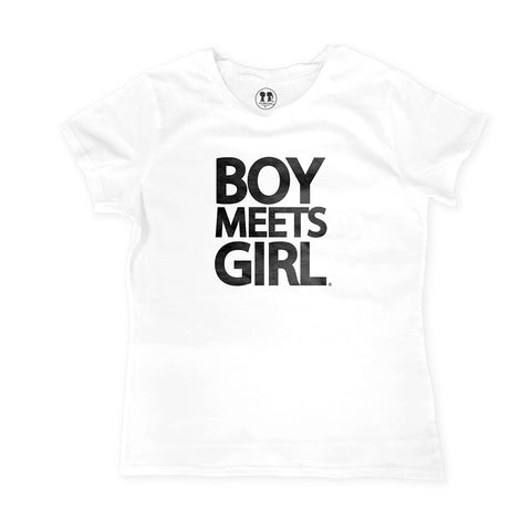 Boy Meets Girl Tee Crew Neck (White/Black)