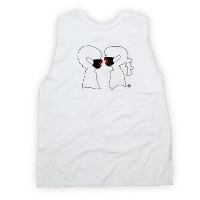 BOY MEETS GIRL® x SURVIVOR CORPS Logo Mask White Muscle Tank