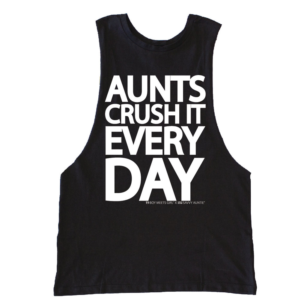 AUNTS CRUSH IT EVERY DAY BLACK WORKOUT TANK
