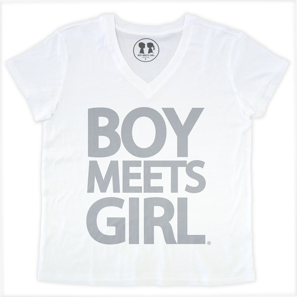 Boy Meets Girl Tee V-Neck (White/Grey)