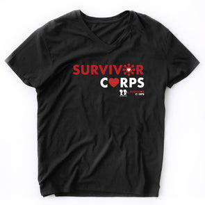 BOY MEETS GIRL® x SURVIVOR CORPS Black V-Neck T-Shirt