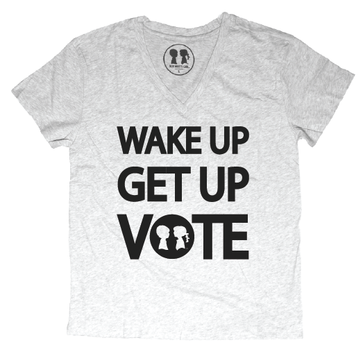 WAKE UP GET UP VOTE Oversized V-Neck Boyfriend Tee