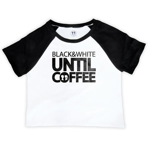 Black & White Until Coffee Raglan Crop Top (White/Black)
