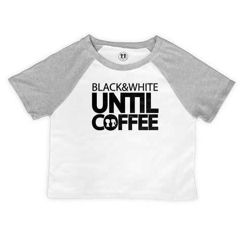 Black & White Until Coffee Raglan Crop Top (White/Grey)