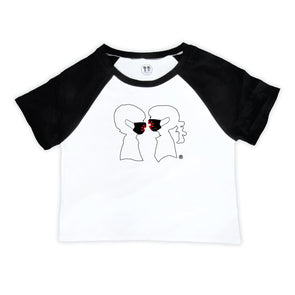 BOY MEETS GIRL® x SURVIVOR CORPS Logo Mask Black Raglan Crop T-Shirt