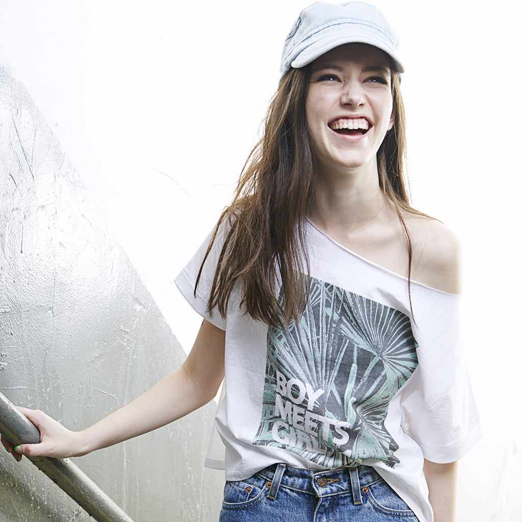 Palm Leaves Oversized Crop Box Tee