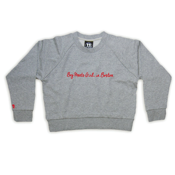 Boy Meets Girl® in Boston Grey Crop Sweatshirt