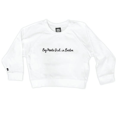 Boy Meets Girl® in Boston White Crop Sweatshirt