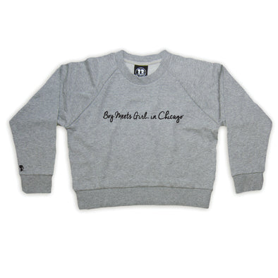 Boy Meets Girl® in Chicago Grey Crop Sweatshirt
