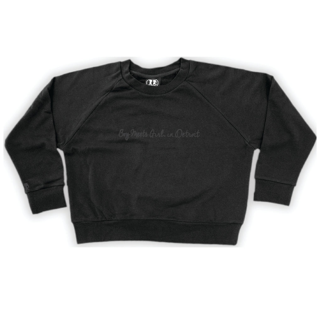 Boy Meets Girl® in Detroit Black Crop Sweatshirt