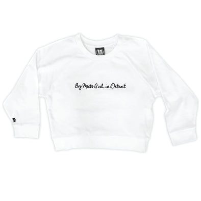 Boy Meets Girl® in Detroit White Crop Sweatshirt