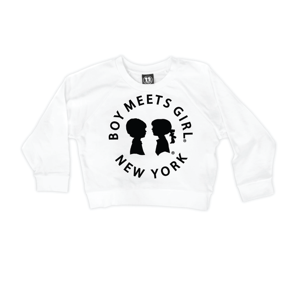 BOY MEETS GIRL® in New York White Crop Sweatshirt