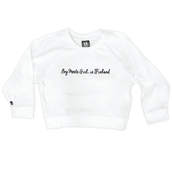 Boy Meets Girl® in Finland White Crop Sweatshirt