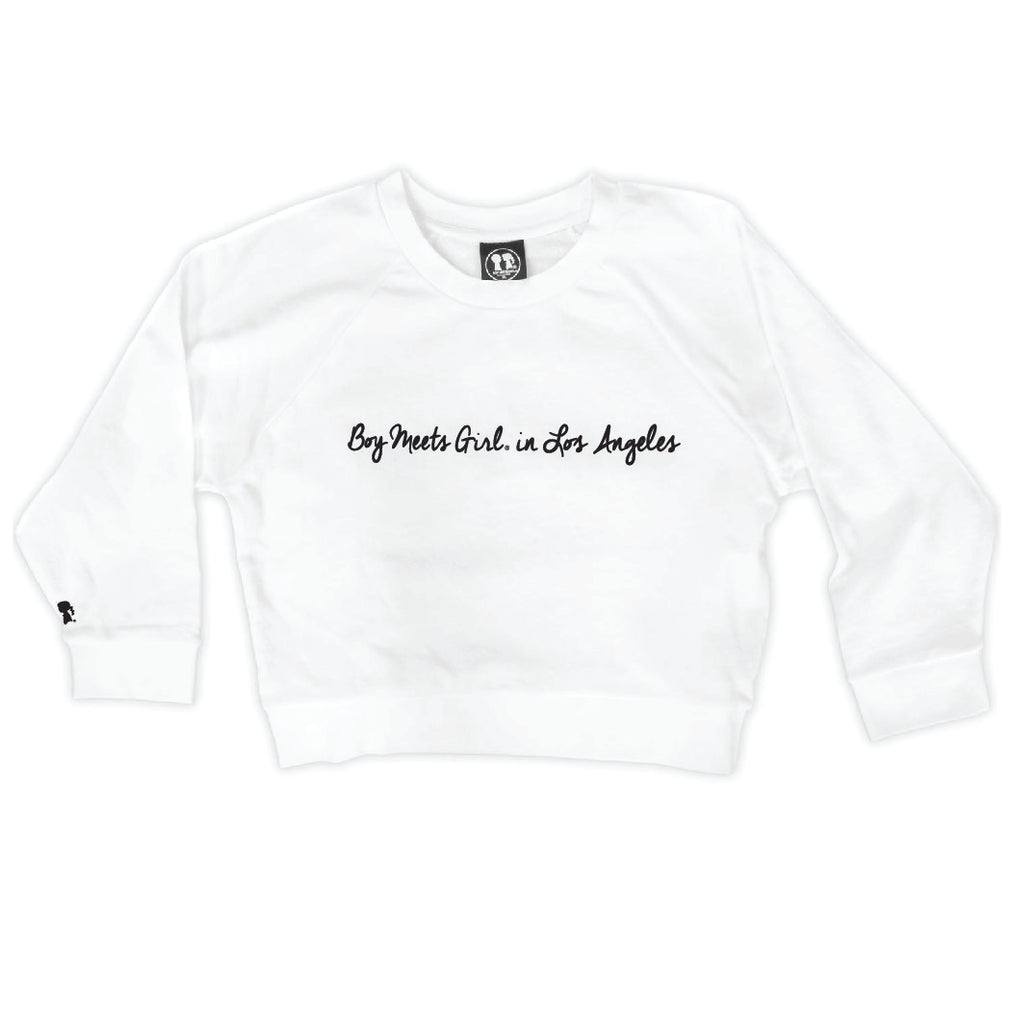 Boy Meets Girl® in Los Angeles White Crop Sweatshirt
