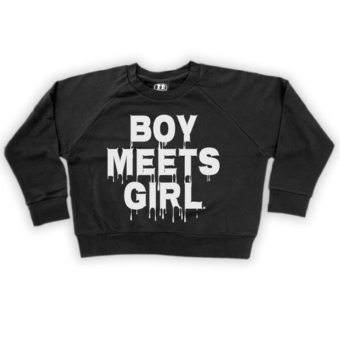 Boy Meets Girl BOO Drip Crop Sweatshirt